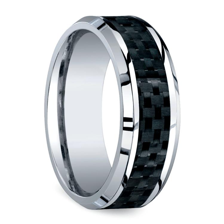 Beveled Carbon Fiber Inlay Men's Wedding Ring in Cobalt | 02