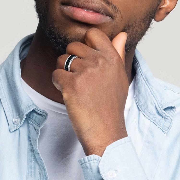 Beveled Carbon Fiber Inlay Men's Wedding Ring in Cobalt   05