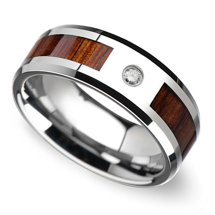 Beveled Diamond Mens Wedding Ring with Koa Wood Inlay in Tungsten