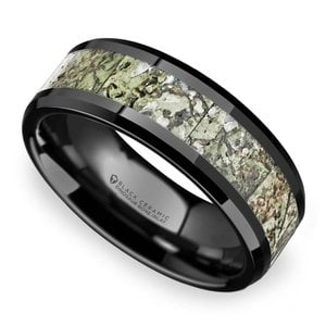 Beveled Light Green Dinosaur Bone Inlay Men's Wedding Band in Black Ceramic