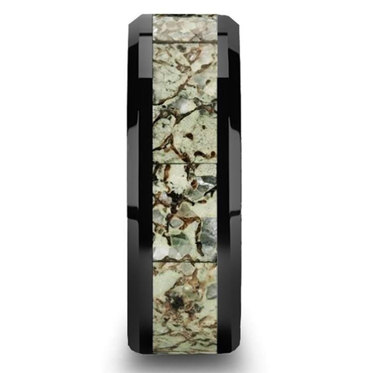 Beveled Light Green Dinosaur Bone Inlay Men's Wedding Band in Black Ceramic | 03