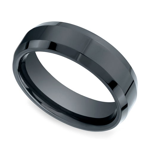 beveled mens wedding ring in ceramic - Ceramic Wedding Rings