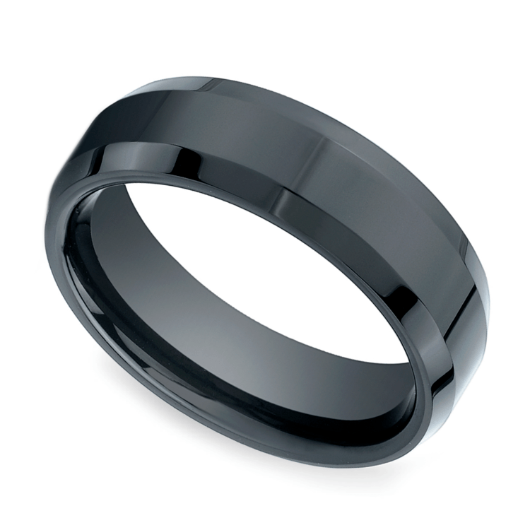 Beveled Men's Wedding Ring in Ceramic | 01