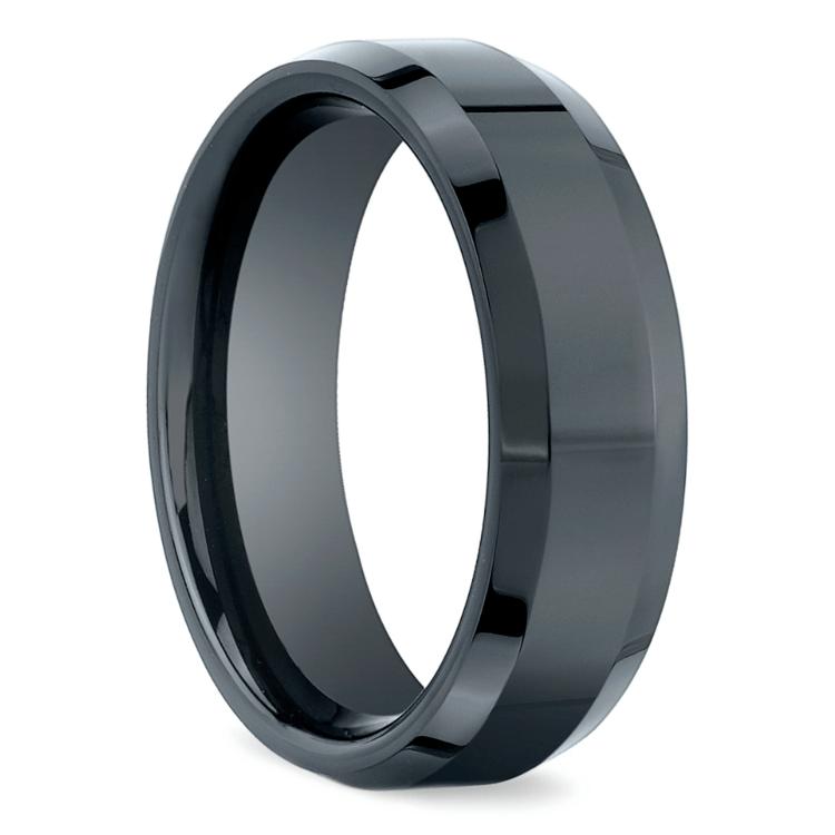 Beveled Men's Wedding Ring in Ceramic | 02