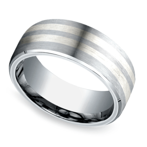 Beveled Men's Wedding Ring in Cobalt/Silver (8mm)