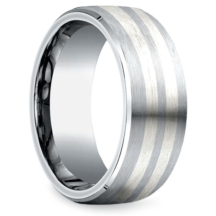 Beveled Men's Wedding Ring in Cobalt/Silver (8mm) | 02