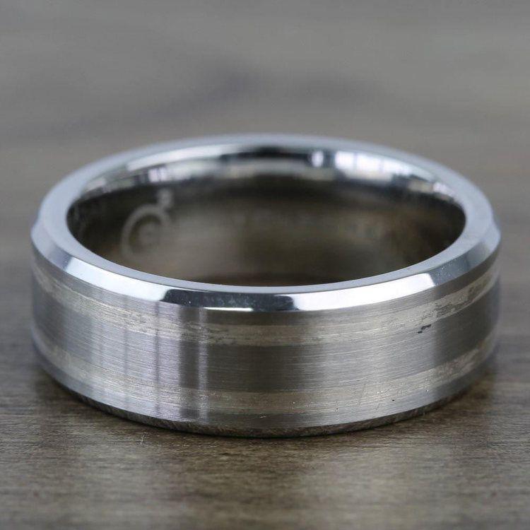 Beveled Men's Wedding Ring in Cobalt/Silver (8mm) | 03