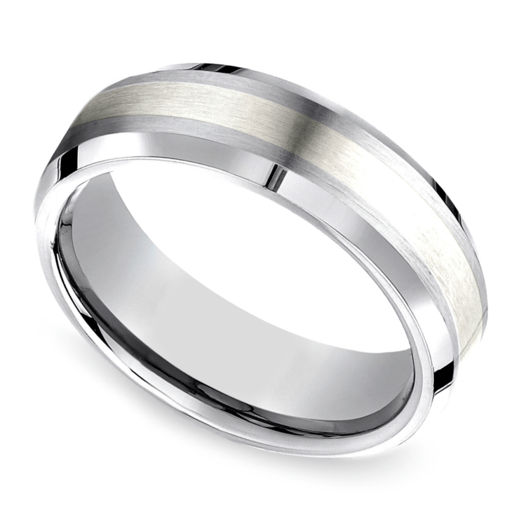 Beveled Men's Wedding Ring in Cobalt/Silver (7mm) | 01