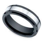 Beveled Cobalt Inlay Men's Wedding Ring in Ceramic | Thumbnail 01