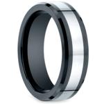 Beveled Cobalt Inlay Men's Wedding Ring in Ceramic | Thumbnail 02