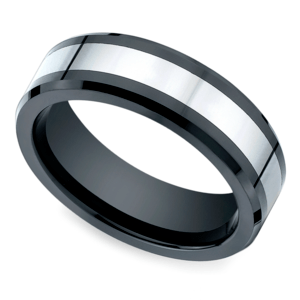 Beveled Cobalt Inlay Men's Wedding Ring in Ceramic