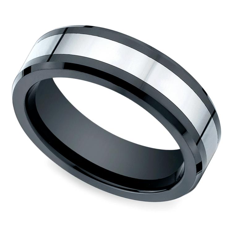 Beveled Cobalt Inlay Men's Wedding Ring in Ceramic | 01