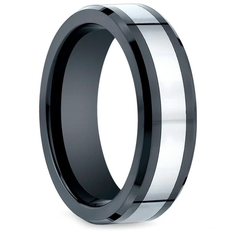 Beveled Cobalt Inlay Men's Wedding Ring in Ceramic | 02
