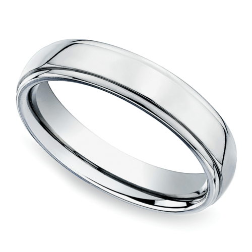 beveled mens wedding ring in palladium 5mm - Palladium Wedding Rings