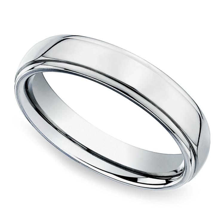 Beveled Men's Wedding Ring in Palladium (5mm) | 01
