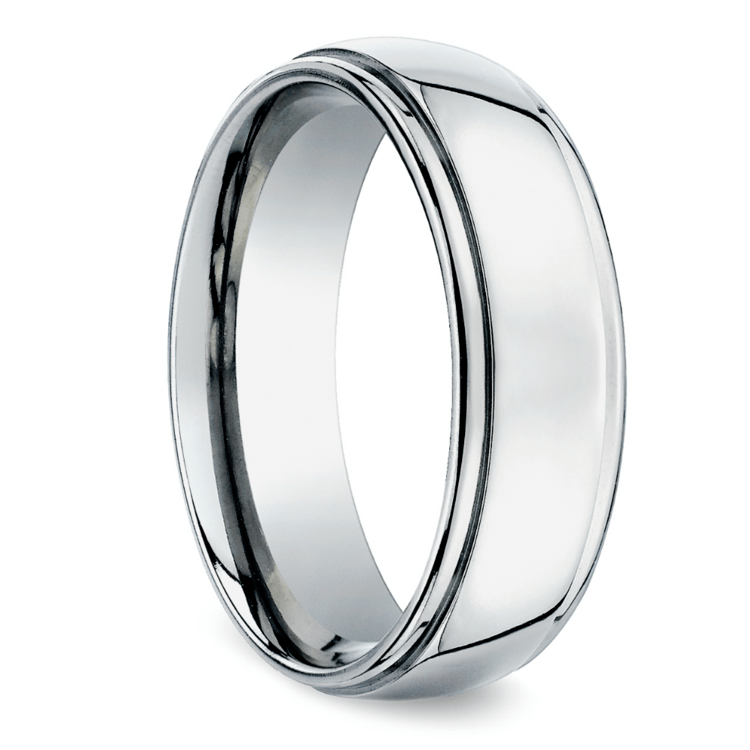 Beveled Men's Wedding Ring in Palladium (7mm) | 02