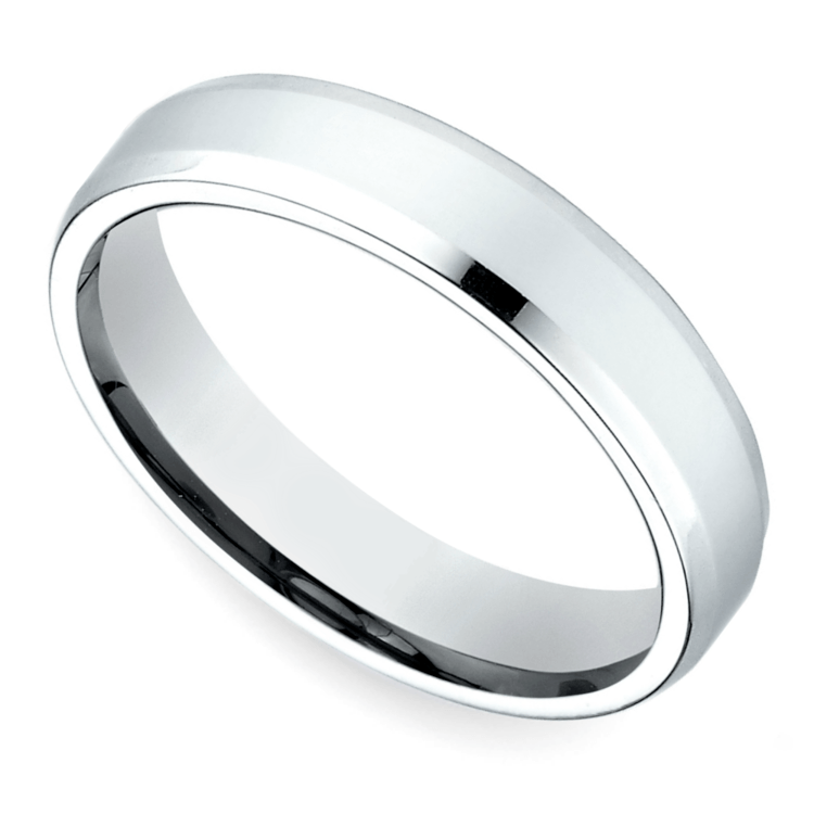 Platinum 4mm Wedding Band: Beveled Men's Wedding Ring In Platinum (4mm