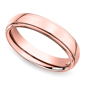 Beveled Men's Wedding Ring in Rose Gold (5mm)
