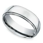 Beveled Men's Wedding Ring in Titanium (7mm) | Thumbnail 01
