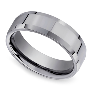 Beveled Men's Wedding Ring in Tungsten (6mm)
