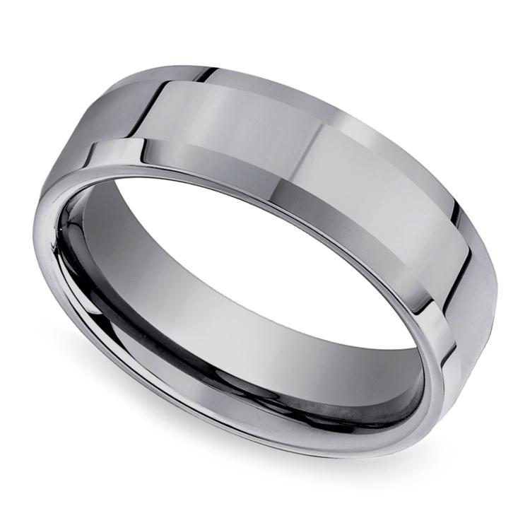 Beveled Men's Wedding Ring in Tungsten (6mm) | 01
