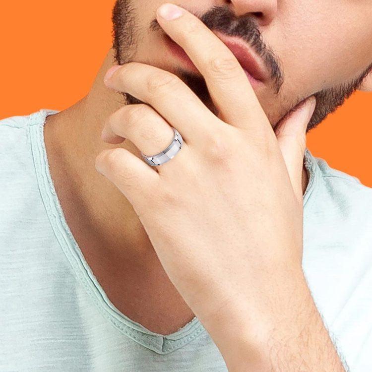 Beveled Men's Wedding Ring in Tungsten (6mm) | 04