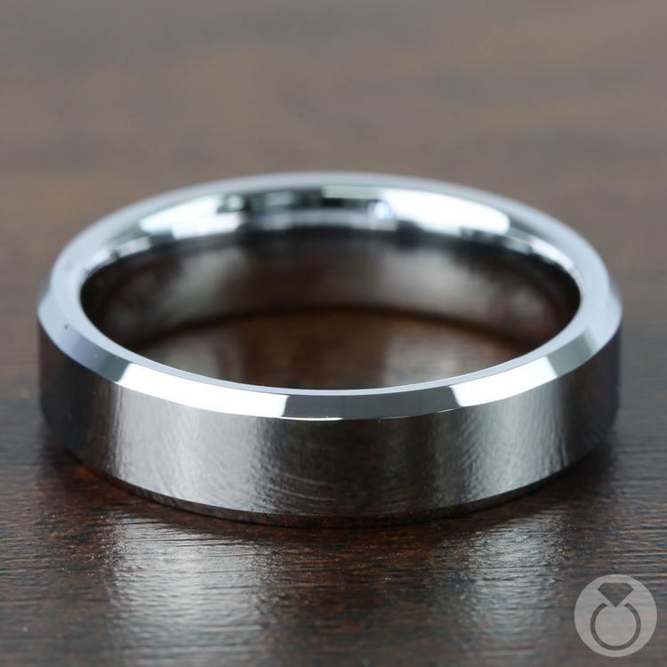 Beveled Men's Wedding Ring in Tungsten (6mm) | 03