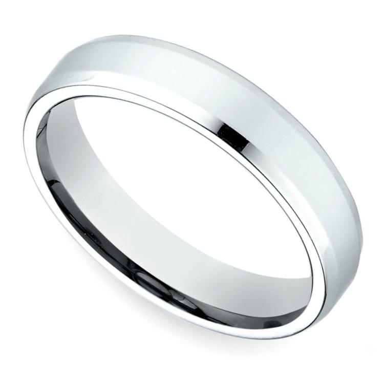 Beveled Men's Wedding Ring in White Gold (4mm) | 01