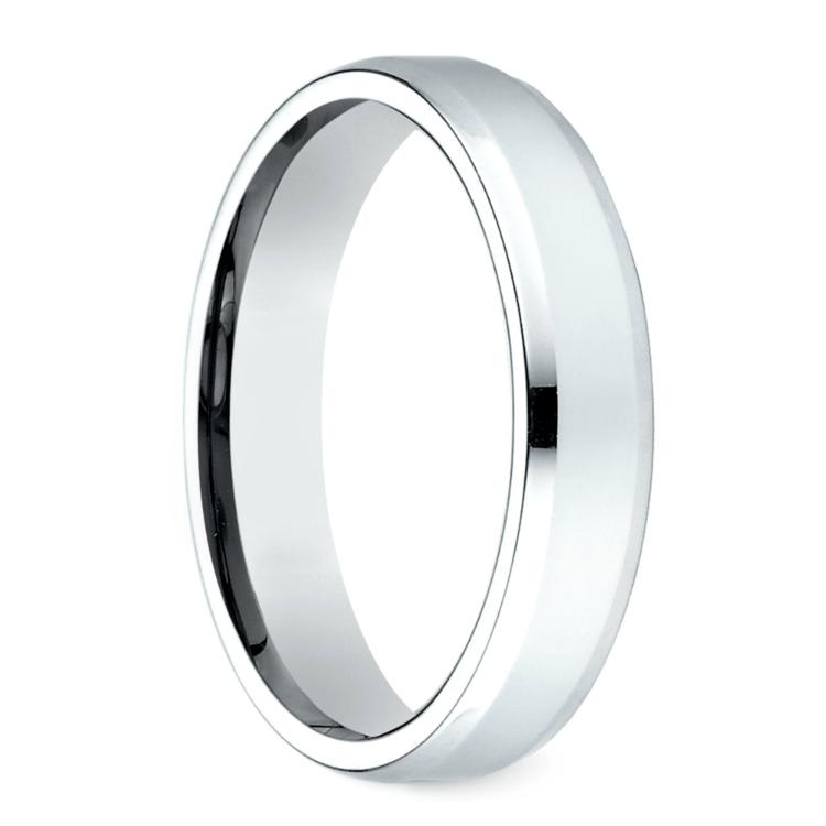 Beveled Men's Wedding Ring in White Gold (4mm) | 02