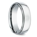 Beveled Men's Wedding Ring in White Gold (7mm) | Thumbnail 02