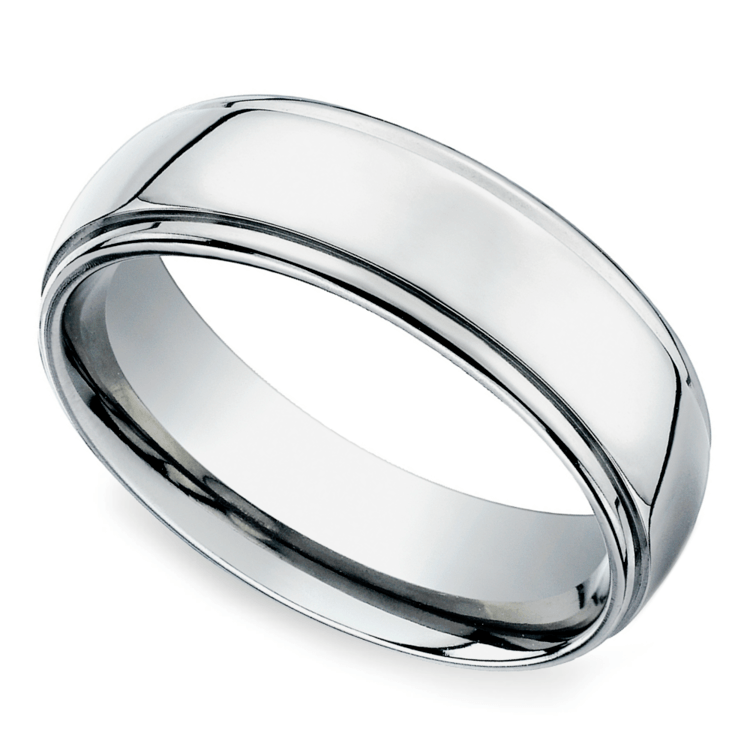 Beveled Men's Wedding Ring in White Gold (7mm) | 01