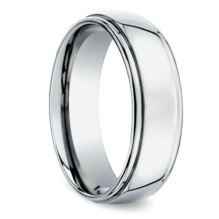 Beveled Men's Wedding Ring in White Gold (7mm) | 02