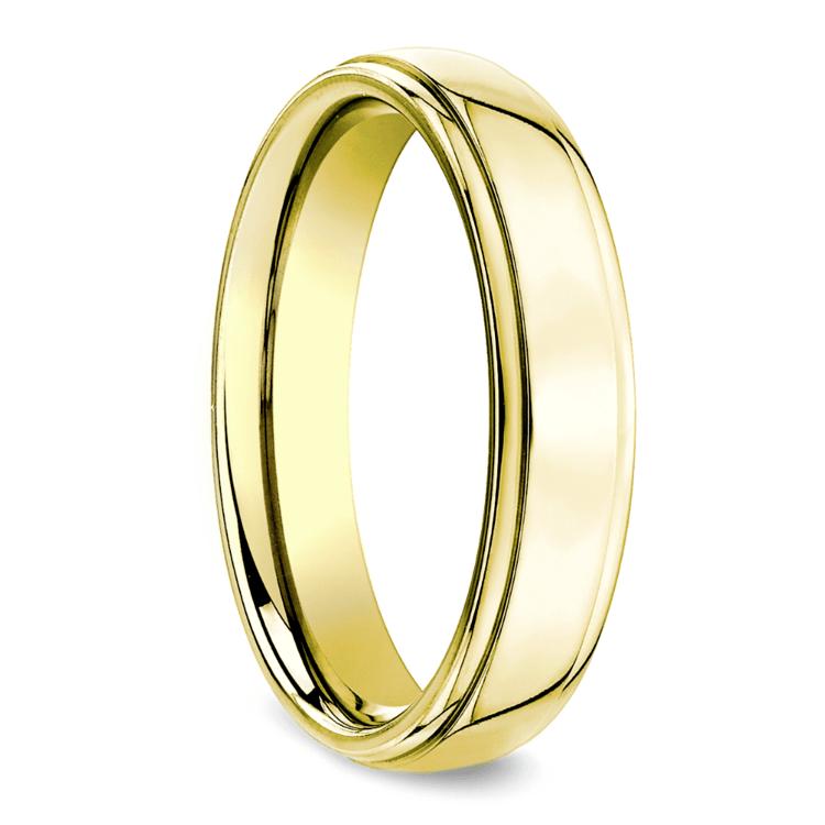 Beveled Men's Wedding Ring in Yellow Gold (5mm) | 02