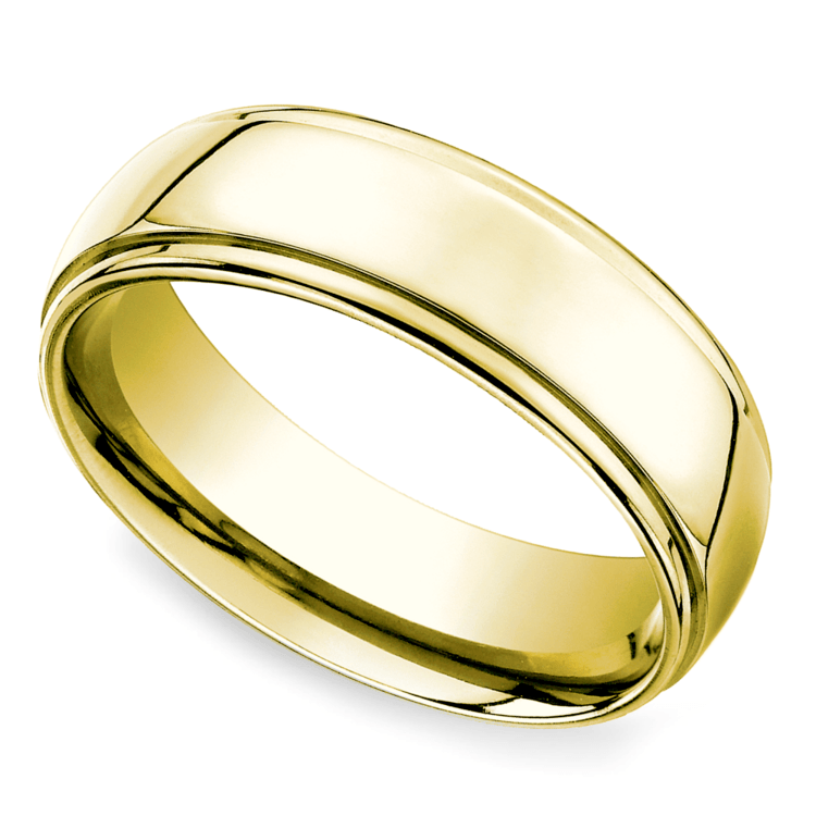 Beveled Men's Wedding Ring in Yellow Gold (7mm) | 01