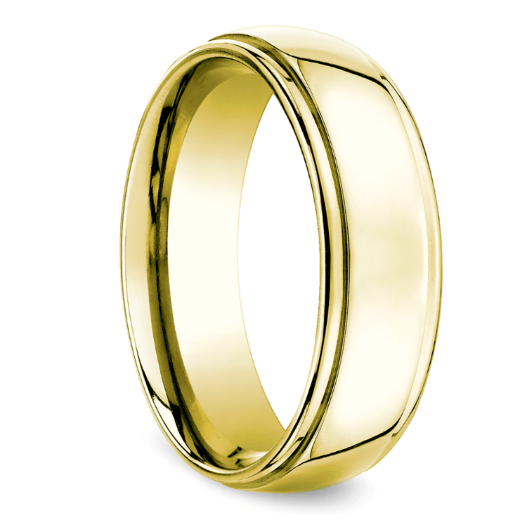 Beveled Men's Wedding Ring in Yellow Gold (7mm) | 02