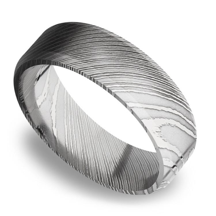 Beveled Men's Wedding Ring in Damascus Steel (7mm) | 01