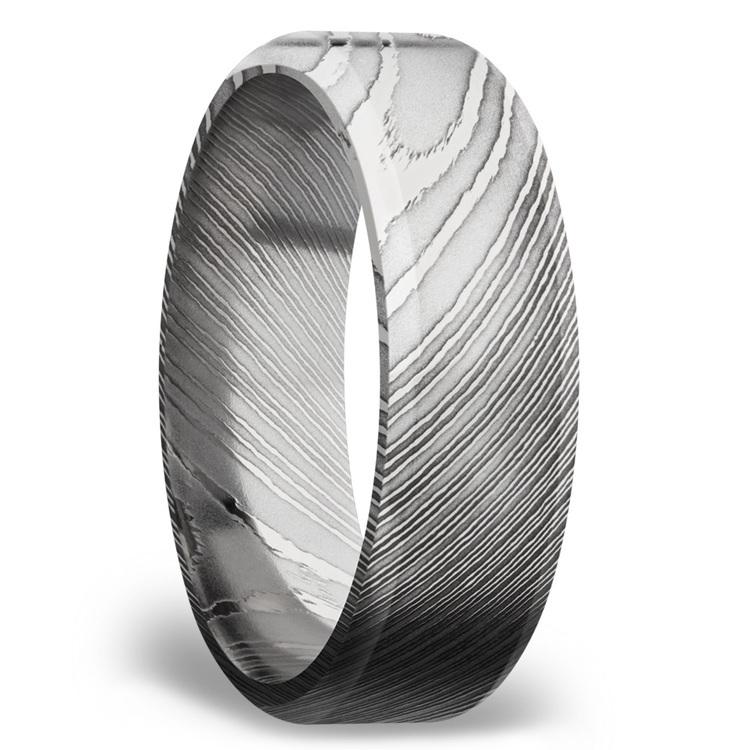 Beveled Men's Wedding Ring in Damascus Steel (7mm) | 02
