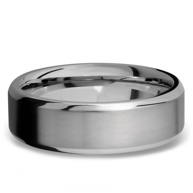 Beveled Men's Wedding Ring in Titanium   03