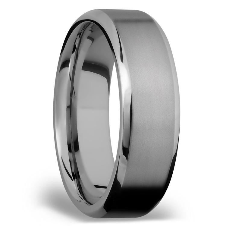 Beveled Men's Wedding Ring in Titanium   02