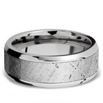 Starwind - Platinum Mens Band with Beveled Meteorite Inlay | Thumbnail 03