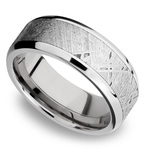 Starwind - Platinum Mens Band with Beveled Meteorite Inlay | Thumbnail 01