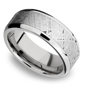 Starwind - Platinum Mens Band with Beveled Meteorite Inlay