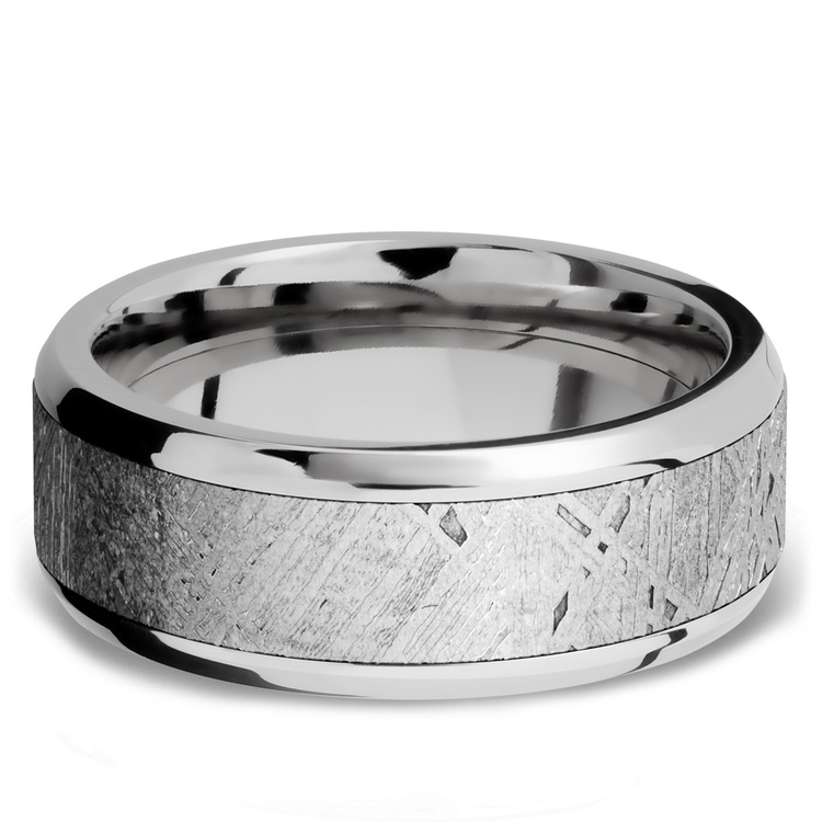 Starwind - Platinum Mens Band with Beveled Meteorite Inlay | 03