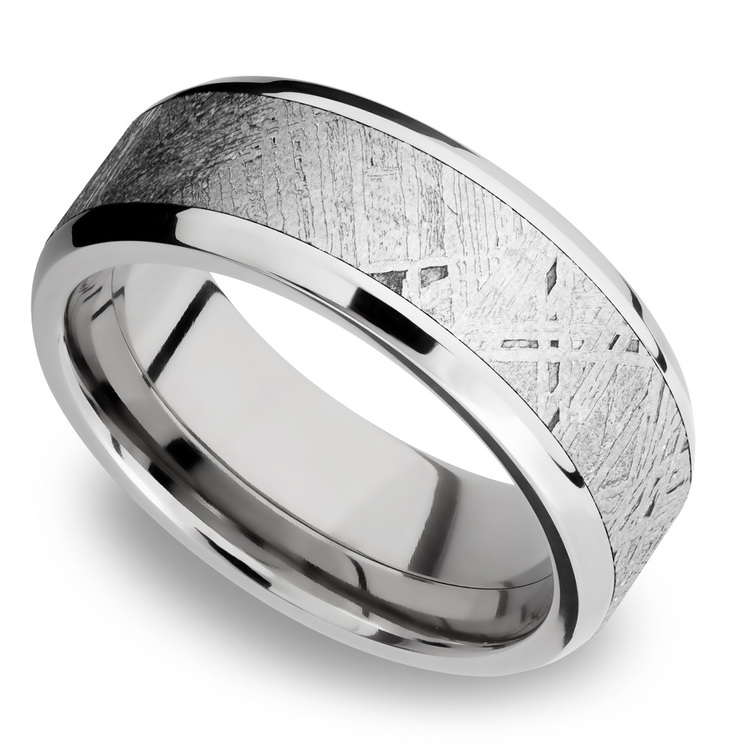 Starwind - Platinum Mens Band with Beveled Meteorite Inlay | 01
