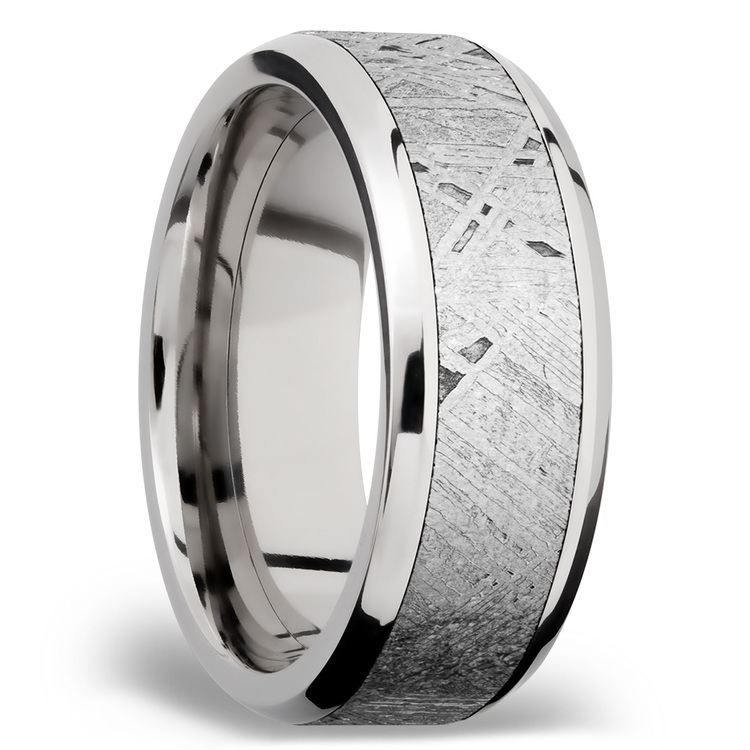 Starwind - Platinum Mens Band with Beveled Meteorite Inlay | 02