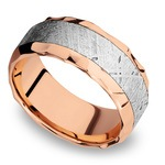 Daybreaker - Hammered 14K Rose Gold Mens Band with Meteorite Inlay | Thumbnail 01