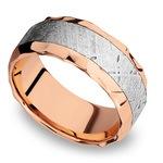 Hammered Meteorite Inlay Men's Wedding Ring in 14K Rose Gold | Thumbnail 01