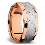 Daybreaker - Hammered 14K Rose Gold Mens Band with Meteorite Inlay | Thumbnail 03