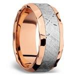 Hammered Meteorite Inlay Men's Wedding Ring in 14K Rose Gold | Thumbnail 03