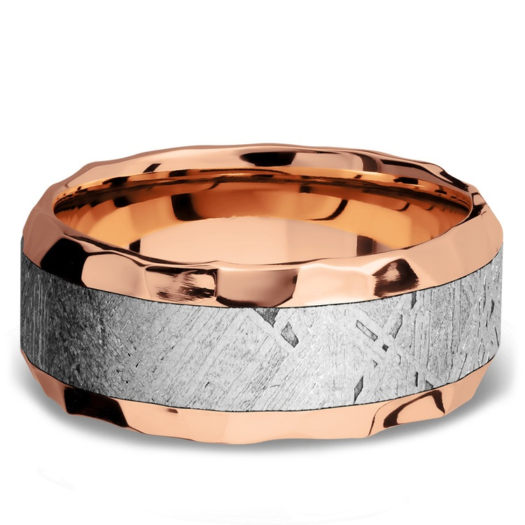 Daybreaker - Hammered 14K Rose Gold Mens Band with Meteorite Inlay | 02